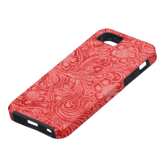 Red Suede Leather Look Embossed Flowers iPhone SE/5/5s Case