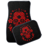 Red Sugar Skull And Cross With Fleur De Lis Car Mat at Zazzle