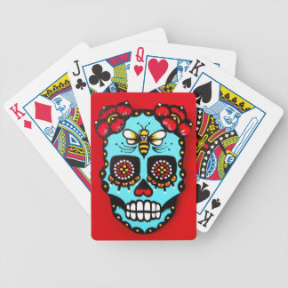 Red Sugar Skull Bicycle Playing Cards
