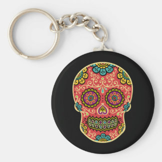 Red Sugar Skull Keychain