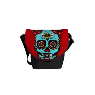 Red Sugar Skull Courier Bags