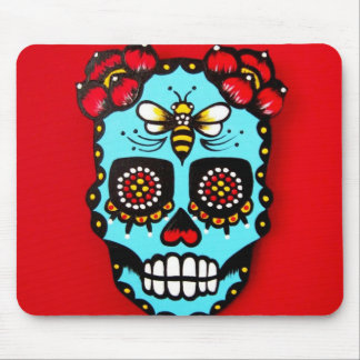 Red Sugar Skull Mouse Pad