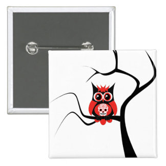 Red Sugar Skull Owl in Tree Button