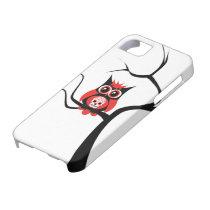 Red Sugar Skull Owl in Tree iPhone 5 Case