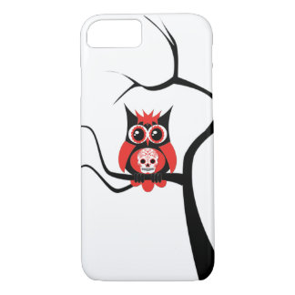 Red Sugar Skull Owl in Tree iPhone 7 case