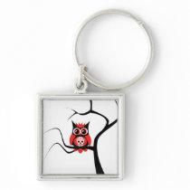 Red Sugar Skull Owl in Tree Keychain