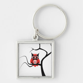 Red Sugar Skull Owl in Tree Keychain
