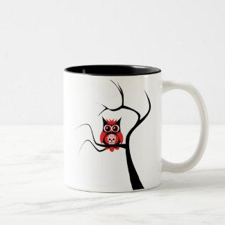 Red Sugar Skull Owl in Tree Mug