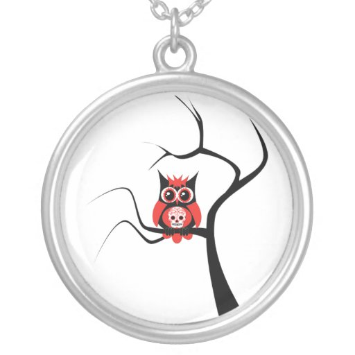 Red Sugar Skull Owl in Tree Necklace