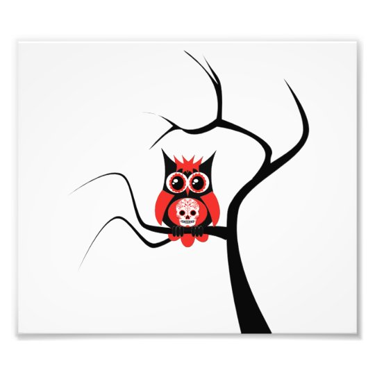 Red Sugar Skull Owl in Tree Photo Enlargement