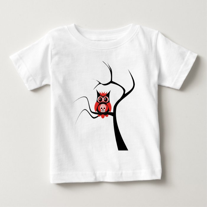 Red Sugar Skull Owl in Tree.png Baby T-Shirt