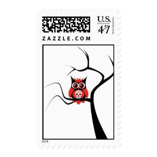 Red Sugar Skull Owl in Tree Postage