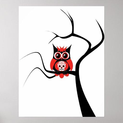 Red Sugar Skull Owl in Tree Poster