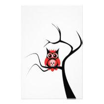 Red Sugar Skull Owl in Tree Stationery