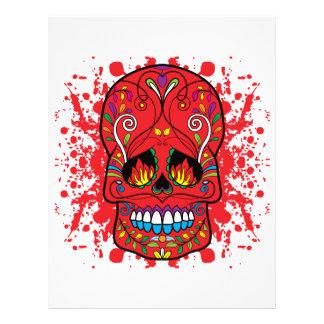 Red Sugar Skull Red Flame Eyes Paint Splash Letterhead