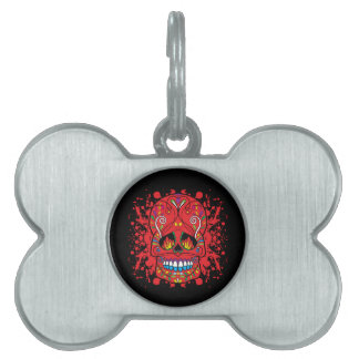 Red Sugar Skull Red Flame Eyes Paint Splash Pet Name Tag