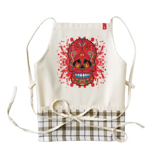 Red Sugar Skull Red Flame Eyes Paint Splash Zazzle HEART Apron