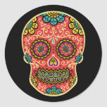 Red Sugar Skull Round Sticker