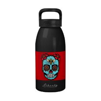 Red Sugar Skull Reusable Water Bottle
