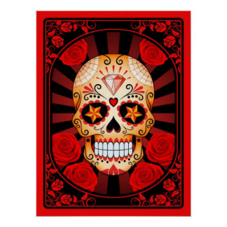 Red Sugar Skull with Roses Poster