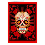 Red Sugar Skull with Roses Poster Card