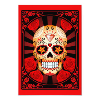 Red Sugar Skull with Roses Poster Personalized Invite
