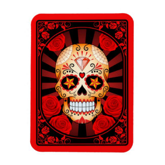 Red Sugar Skull with Roses Poster Flexible Magnet