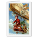 Red Suited Santa in Airship Christmas Vintage Card