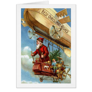 Red Suited Santa in Airship Christmas Vintage Greeting Card