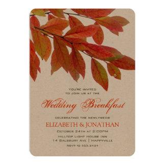 Red Sumac Branch Leaves Wedding Breakfast Card
