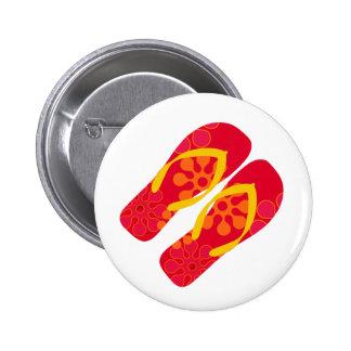Red Summer Beach Flip Flops Button