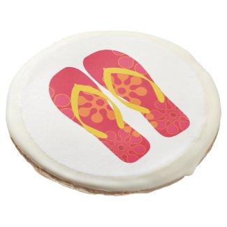 Red Summer Beach Party Flip Flops Cookies Sugar Cookie
