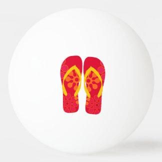 Red Summer Beach Party Flip Flops Ping Pong Ball