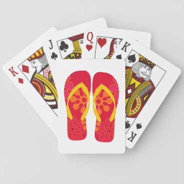 Beach Themed Red Summer Beach Party Flip Flops  Playing Cards
