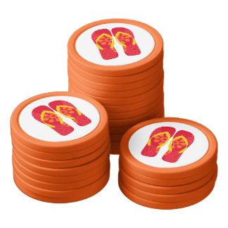 Red Summer Beach Party Flip Flops Poker Chips