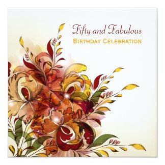 "Red Summer Floral 50th Birthday Invitation 5.25"" Square Invitation Card"