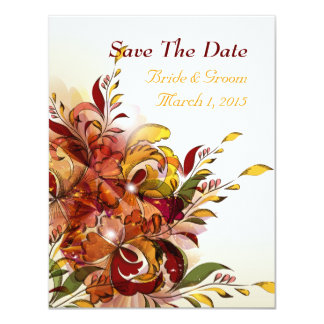 "Red Summer Floral Save The Date Cards 4.25"" X 5.5"" Invitation Card"