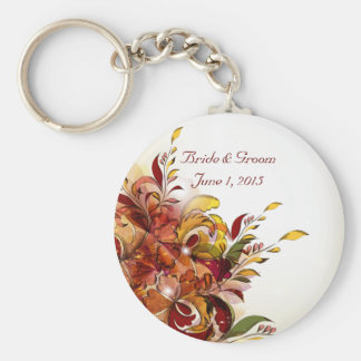 Red Summer Floral Wedding Keychain
