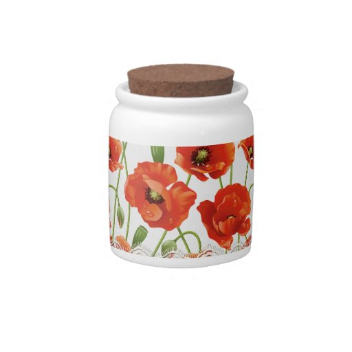 Red Summer Poppies Candy Jar