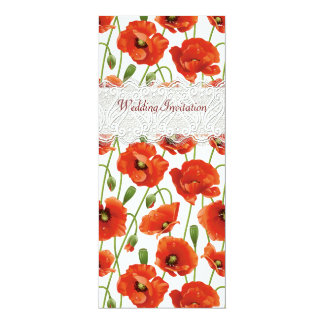 Red Summer Poppies Wedding Invitation