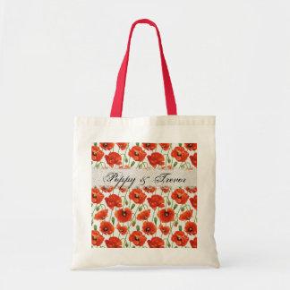 Red Summer Poppy Canvas Bag