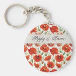 Red Summer Poppy Basic Round Button Keychain