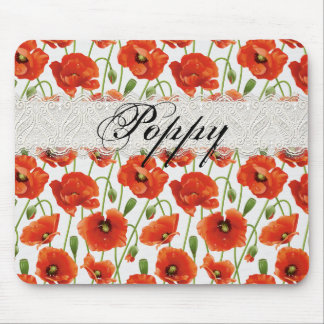 Red Summer Poppy Mouse Pad