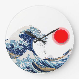 Red Sun and The Great Wave off Kanagawa Large Clock