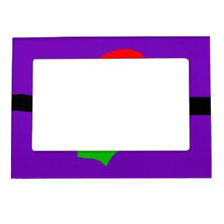 Red Sun Black Horizon Purple Sky Green Lizard Magnetic Picture Frame