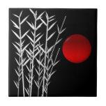 Red sun black white zen ceramic tiles