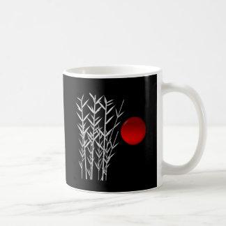 Red sun black white zen coffee mug