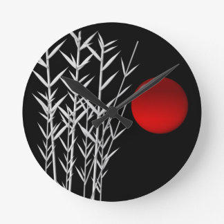 Red sun black white zen round clock