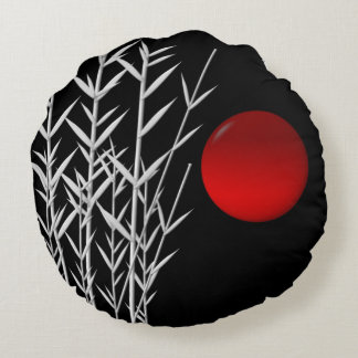 Red sun black white zen round pillow
