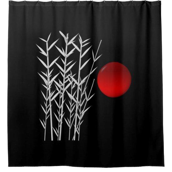 Red sun black white zen shower curtain